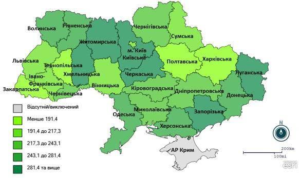 Рис. 2. Розподіл інтенсивних показників захворюваності на ГРВІ серед регіонів України,1 тиждень 2021 року