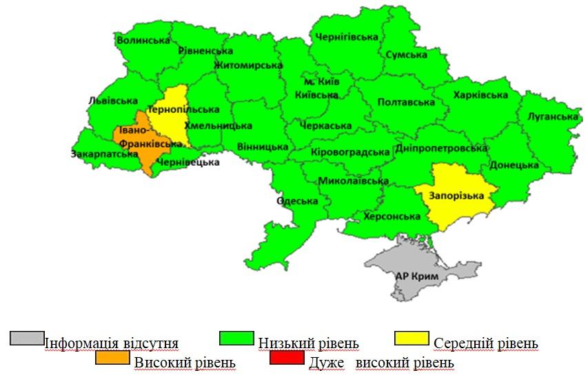 Перевищення епідемічних порогів захворюваності на ГРВІ серед регіонів України, 6 тиждень 2021 року