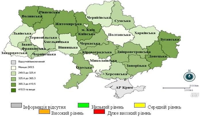Рис. 2. Перевищення епідемічних порогів захворюваності на ГРВІ серед регіонів України, 20 тиждень 2021 року