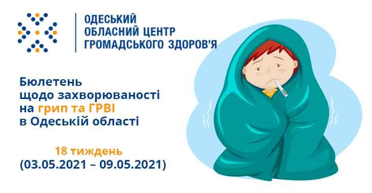 Інформаційний бюлетень «Грип та ГРВІ в Одеській області» 18 тиждень (03.05.2021 – 09.05.2021)